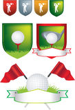 Set of golf shields and designs Stock Photo