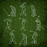 Set of golf sport people positions. Golfer playing icons design Royalty Free Stock Photos