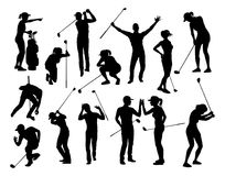 Golfer Golf Sports People Silhouette Set. A set of golfer sports people playing golf in various poses royalty free illustration