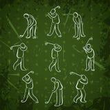 Set golfowi sport pozycj ludzie Golfista bawić się ikona projekt ilustracja wektor