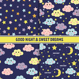 Set of Good Night seamless pattern with cute sleeping moon, stars and clouds. Sweet dreams background. Vector Stock Photos