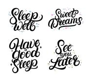 Set of good nigth calligraphy quotes. Sweet dreams. vector illustration