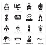 Set of Google glasses, Augmented reality, Cloud computing, Mechanical arm, Rocket, Hologram, Vr Smart house, Smartwatch icons. Set Of 16 simple  icons such as Stock Photography