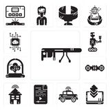 Set of Google glasses, Smartphone, Car, Audio file, Smart house, Hoverboard, Tree, Robot, Artificial intelligence icons. Set Of 13 simple editable icons such as Stock Photos