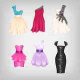 Set of gorgeous dresses Stock Photos