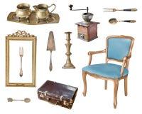 Set of 13 gorgeous old vintage items. Antique slul, coffee grinder, milk jug, sugar bowl, frame, suitcase, candlestick, cutlery. royalty free stock photo