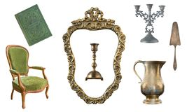 Set of 7 gorgeous old vintage items. Old dishes, appliances, kettles, chairs, books, candlesticks, picture frames. Isolated on whi. Te background stock images
