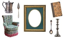 Set of 7 gorgeous old vintage items. Old dishes, appliances, kettles, chairs, books, candlesticks, picture frames. Isolated on whi. Te background royalty free stock images