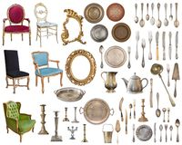 Set of 8 gorgeous old vintage items. Old dishes, appliances, kettles, chairs, books, coffee grinder, candlesticks, picture frames. Isolated on white background stock image