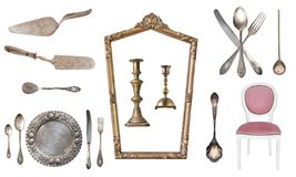 Set of 17 gorgeous old vintage items. Old dishes, appliances, kettles, chairs, books, candlesticks, picture frames. Isolated. On white background stock images