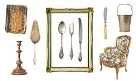 Set of 10 gorgeous old vintage items. Old dishes, appliances, kettles, chairs, books, candlesticks, picture frames. Isolated on wh. Ite background royalty free stock images