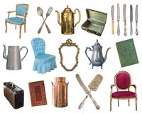 Set of 21 gorgeous old vintage items. Old dishes, appliances, kettles, chairs, books, coffee grinder, candlesticks, picture frames stock photography