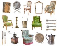 Set of 21 gorgeous old vintage items. Old dishes, appliances, kettles, chairs, books, coffee grinder, candlesticks, picture frames stock photos