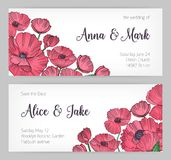 Set of gorgeous templates for Save the Date card, wedding invitation or banner with pink blooming poppy flowers hand Royalty Free Stock Photo