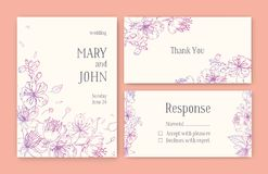 Set of gorgeous templates for Save the Date card, wedding invitation or thank you note with Japanese sakura flowers hand. Drawn with pink contour lines on light Stock Photo