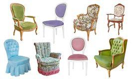A set of gorgeous vintage armchairs and chairs on a white background royalty free stock photos