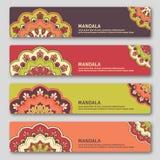 Set of gorizontal cards with hand drawn mandala. Oriental style, Stock Photo