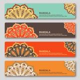 Set of gorizontal cards with hand drawn mandala. Oriental style, Royalty Free Stock Photos