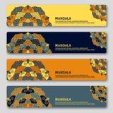 Set of gorizontal cards with hand drawn mandala. Oriental style, Royalty Free Stock Photography