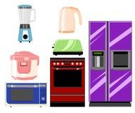 Set gospodarstw domowych kuchenni technics: Mikrofala i piekarnik, ostrzarz rysuje tła trawy kwiecistego wektora Wektorowa ilustr Obraz Stock