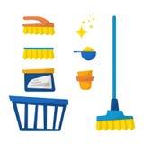 Set gospodarstwa domowego cleaning wyposażenie odizolowywający na białym tle ilustracji