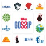 Set of gossip, 4g lte, stratis, little black dress, penrose, creek, nargile, grim reaper, jasmine icons. Set Of 13 simple editable icons such as gossip, 4g lte Royalty Free Stock Photos