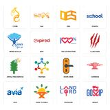 Set of gossip, landlord, avia, door knob, simple tree service, 100 satisfaction, never give up, oes, c fire icons. Set Of 16 simple  icons such as gossip Stock Images
