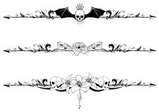 Set of gothic borders. Vector set of gothic borders with craniums and flowers Stock Images