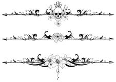 Set of gothic borders. Vector set of gothic borders with cranium, scorpions and flowers stock illustration