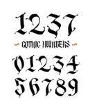 Set gothic liczby wektor Ręcznie pisany Łacińska chrzcielnica arabscy liczebniki Wszystkie charaktery oddzielnie średniowieczny s royalty ilustracja