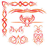 Set of Gothic patterns. Vector set of gothic patterns for design. Red and orange Royalty Free Stock Photography