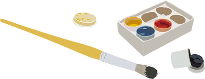 Set of gouache paints in a box, and a brush. The set of gouache paints in a box, and a brush Royalty Free Stock Image