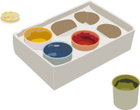 Set of gouache paints in a box. The set of gouache paints in a box. Opened can and cap Royalty Free Stock Photos