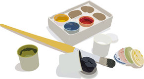 Set of gouache paints and brush. The set of gouache paints in a box and brush Stock Images