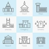 Set of government buildings icons Stock Images