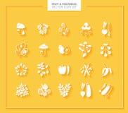 set grönsaker för fruktsymbol silhouettes white Arkivfoton
