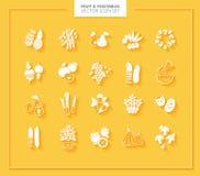 set grönsaker för fruktsymbol silhouettes white Arkivfoto