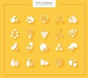 set grönsaker för fruktsymbol silhouettes white Royaltyfri Foto