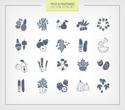 set grönsaker för fruktsymbol svarta silhouettes Arkivbild