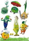 set grönsaker för tecknad filmeps Royaltyfri Illustrationer