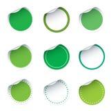 Set grüne Aufkleber Stockfotos