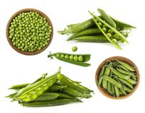 Set grüne Erbsen Grüne Erbsen lokalisiert auf einem weißen Hintergrund Gemüse mit Kopienraum für Text Frische grüne Erbsen auf ei Lizenzfreies Stockfoto