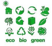 Set grünes eco u. Bioikonen, Aufkleber und Marken Lizenzfreies Stockbild