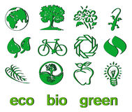 Set grünes eco u. Bioikonen, Aufkleber und Marken Lizenzfreie Stockbilder