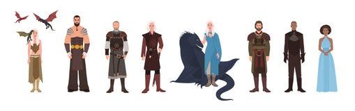 Set gra tron fantazi powieść, serial telewizyjny samiec i żeńscy powieściowi charaktery Mężczyzna i kobiety odizolowywający na bi royalty ilustracja