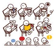 Set gracz liniowy w różnorodnej pozie Obrazy Stock