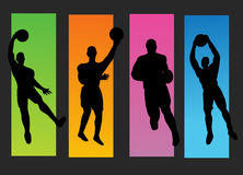Set gracze koszykówki royalty ilustracja