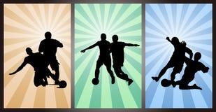 Set gracze piłki nożnej, sylwetka Zdjęcia Royalty Free