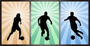 Set gracze piłki nożnej, sylwetka Zdjęcie Stock