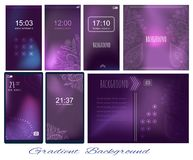 Set of Gradient dark violet backgrounds for screen, wallpaper of. Mobile, presentation, page. Backdrop for wise saying. Page for presentation, motivation card stock illustration